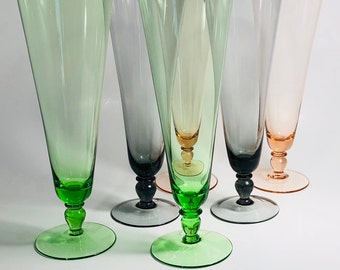 Vintage Colored Beer Glasses Set, 60s Multi Colored Pilsner Beer Glasses Set (6), Gorgeous Mid Century Modern Colored Pilsner Beer Glass Set