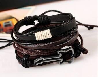 Fashion Gitar Men Women Handmade Genuine Leather Bracelet Braided Bangle Wristband Set