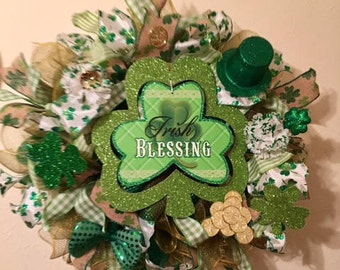 St Patrick's Day Wreath, deco mesh wreath, St Patrick's deco mesh wreath, St Patrick's Day deco mesh wreath