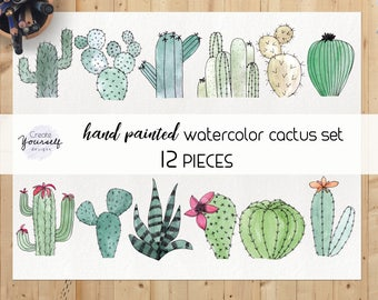 Watercolor cactus clipart set - green cactus clip art, cactus elements, succulents and cacti, hand painted cacti, cactus png, commercial use