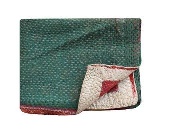 Indian Kantha Quilt Reversible Kantha Blanket Cotton Sari Kantha Bedspread Stripe Design Twin Size Kantha Throw Bohemian Kantha Bed Cover