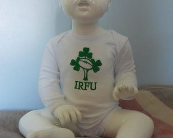 Ireland Rugby Embroidered Babygrow Bodysuit Vest available in all sizes from 0-18 months