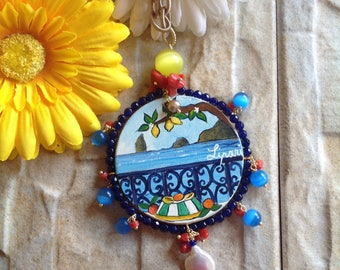 Hand painted pendant and natural stones