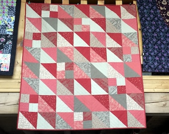 Traditional Style Red and White Lap Quilt