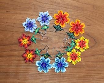 Huichol Earrings - Boho Style Earrings - Flower Earrings - Mexican Earrings - Beaded Earrings - Floral Earrings - Tribal Earrings -Seed Bead