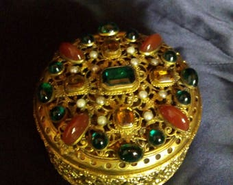 Old box of gilded bronze with semiprecious jewels, made in Austria