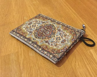 Moroccan Boho Hamsa Zip Purse/Coin Case/Wallet - Woven Needlepoint Look