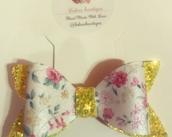yellow and floral hair bows, headband or alligator clip.