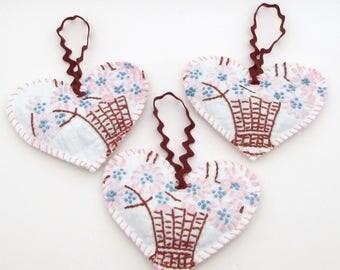 Heart Sachet Set - 3 Vintage Quilt Lavender Sachets - Hanging Sachets - dried lavender buds - shabby sachet - embroidered - primitive rustic