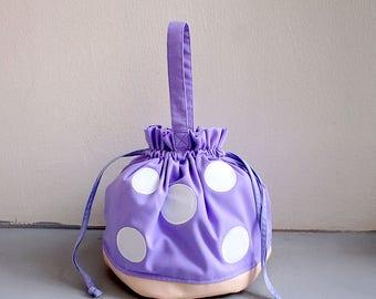 VIOLET Mushroom Purse, Mushroom Bag, Toadstool Bag, Mushroom Purse, Drawstring Bag Women, Drawstring Bag Kids, Drawstring Purse,Twinning Bag