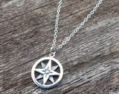 North Star Compass Sterling Silver Charm Necklace Inspirational Pendant Jewelry grad gift graduate inspire gifts for grads graduation
