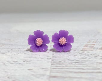 Purple Petals and Pink Center Cherry Blossom Sakura Flower Stud Earrings with Surgical Steel Posts (SE13)