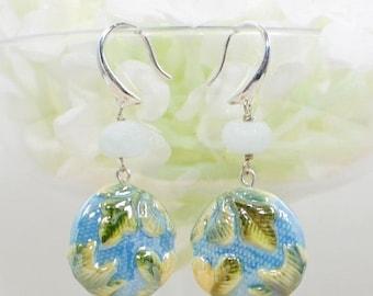 Green Leaf Earrings Blue Sky - Nature Jewelry - Bohemian Earrings - Everyday Jewelry - Gift for Her - Forest Earrings - Earrings Gift
