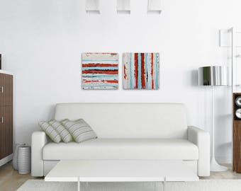 "TW0 Abstract Paintings ""Aqua 06 + Aqua 18"" by Lisa Carney, Modern Art, Minimalist Painting, Stripes, Geometric, Contemporary, Diptych, Pair"
