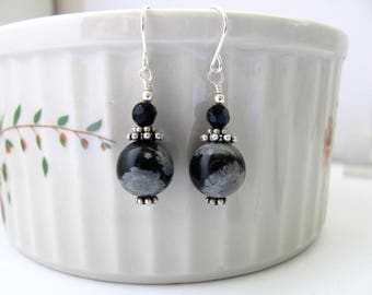 Snowflake Obsidian Black Onyx Earrings, Sterling Silver Dangle Drops, Hawaiibeads Jewelry
