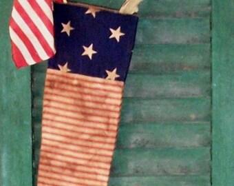 Primitive Flag Stocking, Rustic Stocking, Americana Stocking, Patriotic Stocking, Christmas Stocking, Farmhouse Decor - READY TO SHIP #4