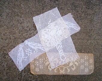 DESTASH - 3 Filet Crochet Lace, Vintage Doily, Farmhouse Decor, Wabi Sabi Style, Vintage Lace, White Lace Ecru Lace - Sold AS IS