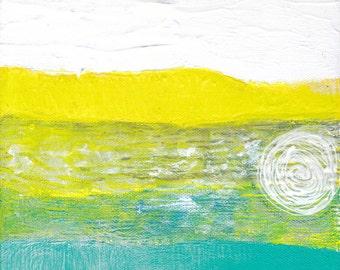 White Yellow Grey Teal Circles Abstract Painting Mixed Media Textured Original Small Art