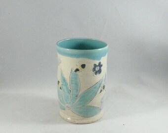 Cup or Tumbler - Desk Organizer - Pencil Holder - Office Desk Accessory - Pen Holder, Desk Caddy, - Toothbrush Holder Ceramic Vase 949