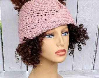 Messy Bun Beanie Ponytail Hat Crochet, Messy Hair Beanie Messy Hair Bun Hat, Top Knot Beanie, Blossom Top