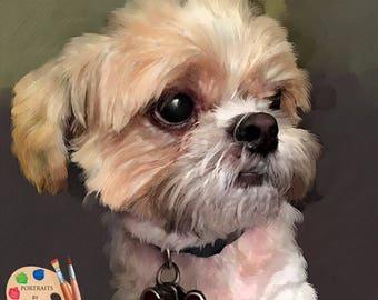 Custom Pet Portraits , Dog Portraits,  Maltese Dog Oil Portraits on Canvas or as Canvas Prints