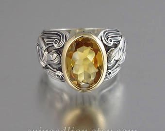 GUARDIAN ANGELS silver 14K mens unisex ring with Citrine