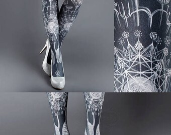 ON SALE/// Tattoo Tights, Marine Life Tights white Closed Toe one size full length printed tights, pantyhose, nylons, tattoo socks