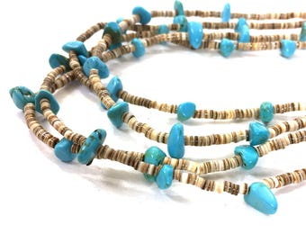 Zuni Heishi & Turquoise Long Double Strand Necklace / Vintage 1970s Native American Handmade Jewelry