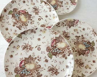 Thanksgiving Dinner Plates, Set of 4, Vintage Nasco Fruit Festival Ceramic Luncheon Dishes, Autumn Serving, Fall Table Setting