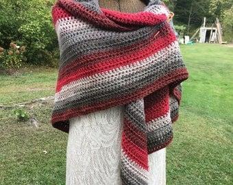 Modern Stripe Shawl Wrap Red Gray Triangle Shawl Crochet Ladies Shawl Red Stripe