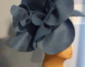 Blue Gray Felt Over sized Fascinator Headband