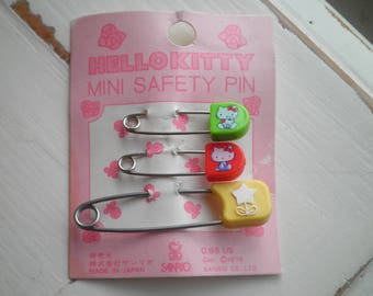 Vintage 1976 Hello Kitty Sanrio Safety Pin Set - Retro 70s Kawaii Safety Pins Stocking Gift - Rare Collectible Cats & Star Flower Mini Pins