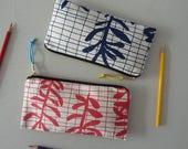 Sprig Grid screenprinted cotton pencil case