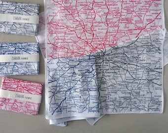 London Hankie screenprinted vintage map handkerchief