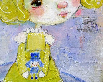 Lemon and Blueberry - mixed media art print by Mindy Lacefield
