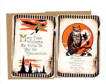 Halloween Flat Cards, Vintage Halloween, Witch Blank Cards, Vintage Owl Cards, Orange and Black, Note Cards, Bluebird Lane Cards, Nostalgic