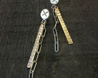 Sterling and brass dangle earrings