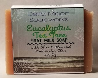 Handmade Eucalyptus Tea Tree Goat Milk Soap, Soap for sensitive skin, shea butter soap, natural soap, shaving soap, cold process soap
