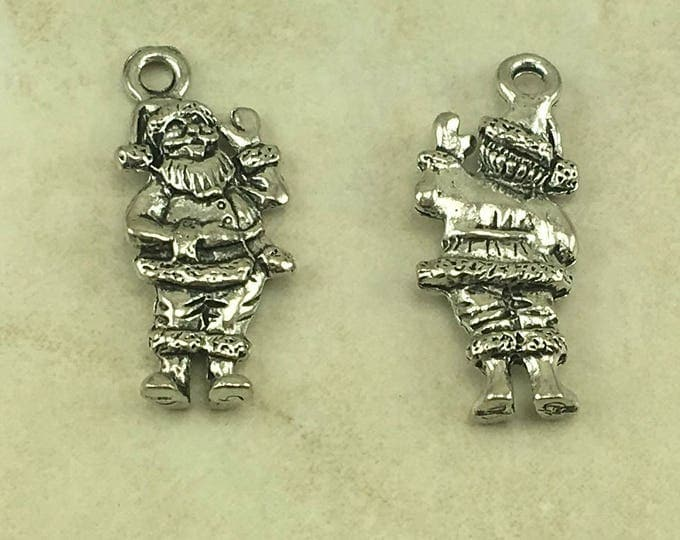 Featured listing image: Santa Clause Charm > Christmas Jolly St Nick Saint North Pole Chris Kringle - American Made Lead Free Pewter Silver - I ship internationally