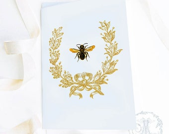French Bee, Christmas card, vintage acorn wreath, holiday card, birthday card, friendship card, blank all occasion card