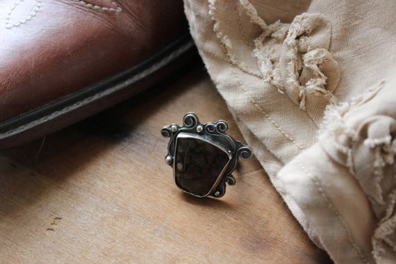 Brown Turtello Stone & Sterling Silver Ring- Size 7