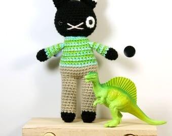 peter cat .. stuffed plush toy, kitten amigurumi, crochet plush boy, nursery, christening gift, cute animal doll