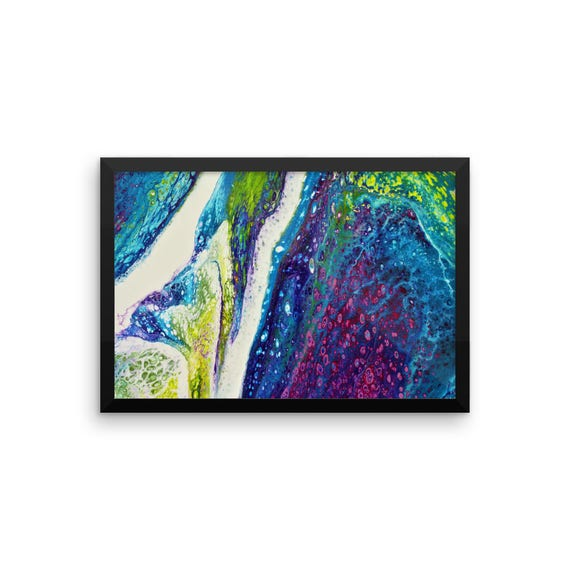 Vivid Dream - Original Acrylic Abstract Art - Framed Photo Paper Poster - Vivid Colors - Turquoise - Magenta - Purple - Blue