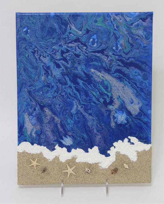 Mixed Media Art - Acrylic Flow Art - Acrylic Pour - Beach Scene - Starfish - Seashells - Seashore - Gift For Beach Lover - 11 x 14