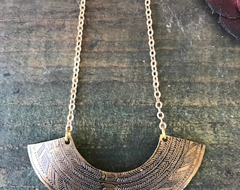 AMUA // Etched Brass Necklace