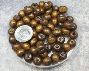 170 Brown Wood Beads 9x7MM (H2562)