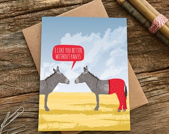 funny love card / funny anniversary card / donkey pants