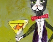 Print of Tuxedo Cat Bartender Painting - 8x10 Print - Funny Cat Art - Crazy Cat Lady Gift - Gift for Cat Lover