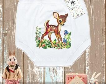 Little Deer Training Pants, Forest Animal Potty Underwear, Fawn Undies, Trainer Pants, Vintage Graphic Potty Pants, 2T, 3T