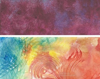 Art Lot of 3 Abstract Watercolor on Paper Three Brilliant Windsor Newton colors with texture and life